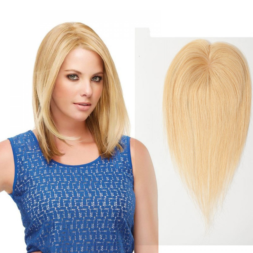 Human Hair Toppers With Clips For Thinning Crown Women #24 Ash Blonde