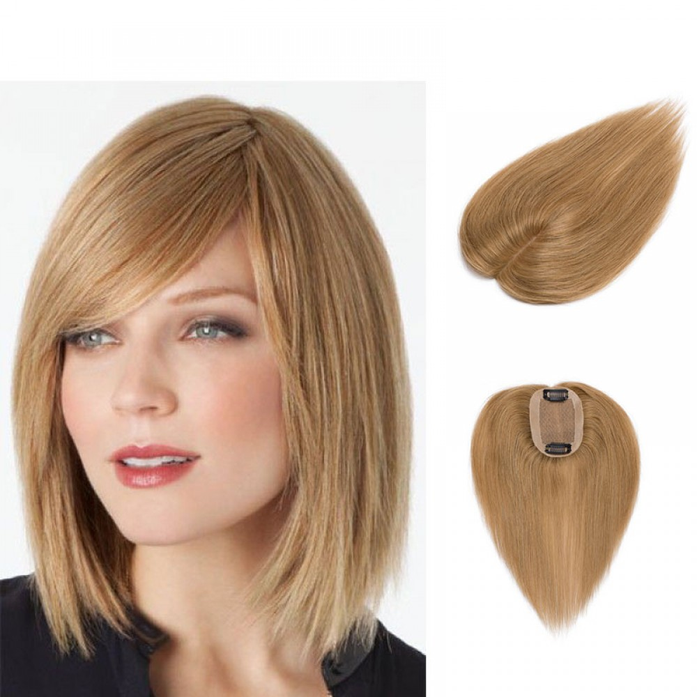Human Hair Toppers With Clips For Thinning Crown Women #27 Dark Blonde