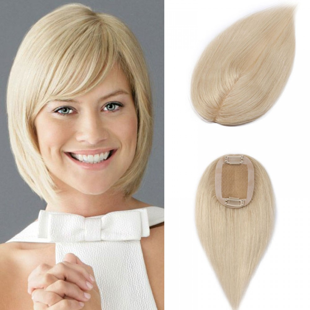 Human Hair Toppers With Clips For Thinning Crown Women #60 Platinum Blonde