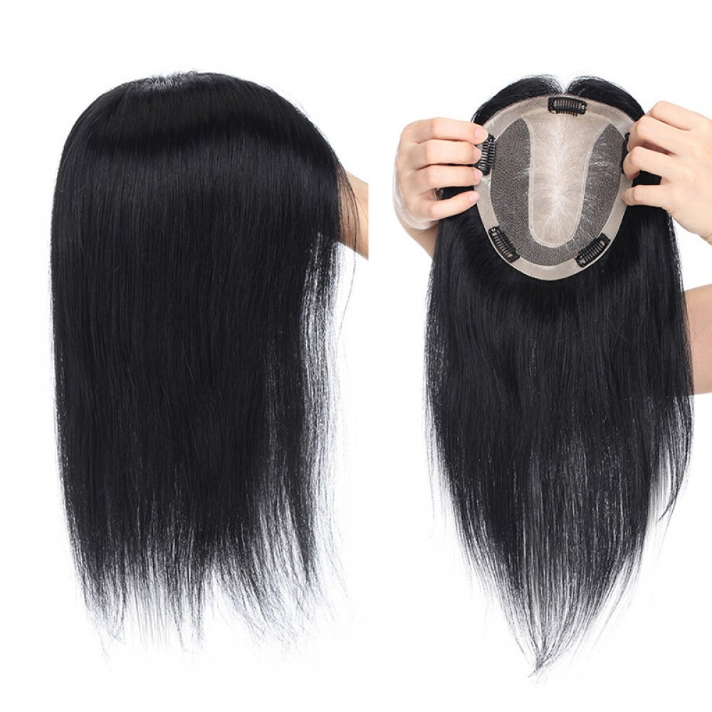 【 NEW IN 】15cmx16cm Hair Pieces Hair Toppers  For Thinning Crown Women #1 Dark Black