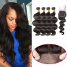 【 Buy 4 Get a Free Closure 】4 Bundles Brazilian Virgin Hair Body Wave With 4*4  Free Part Closure Body Wave