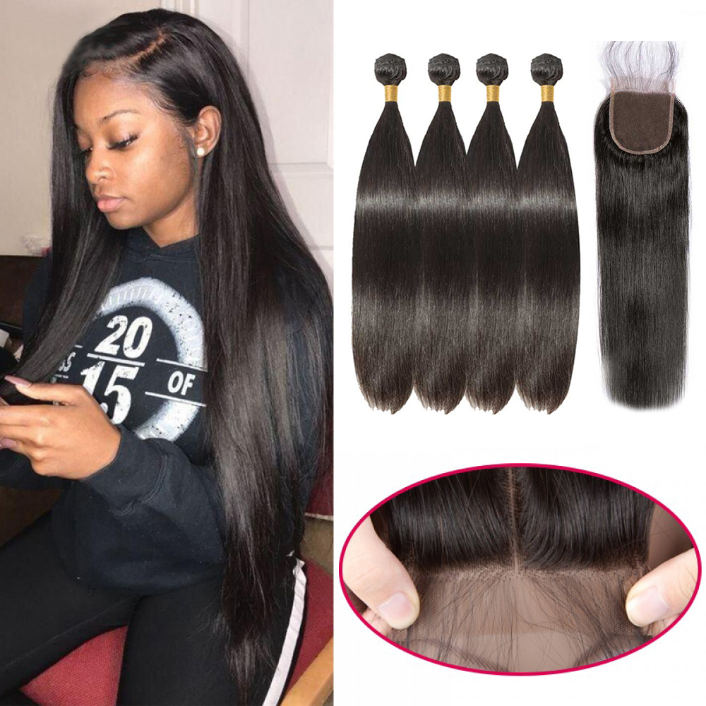 【 Buy 4 Get a Free Closure 】4 Bundles Brazilian Virgin Hair Straight With 4*4  Free Part Closure Straight